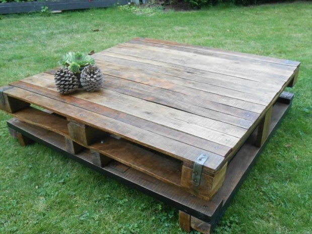 Wood Pallet Coffee Table ~ Wooden pallet made table ideas recycled