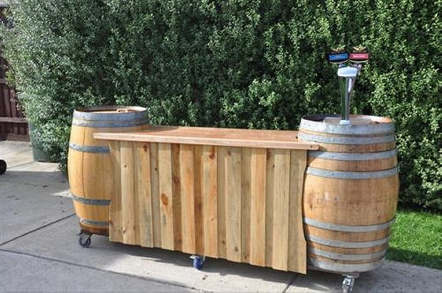 wooden bar in patio with pallet