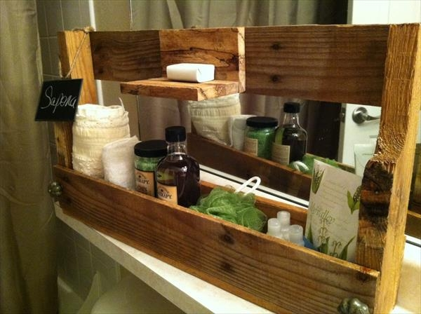 Unique DIY Pallet Shelf And Towel Rack Pallet Bathroom Shelf With Toilet