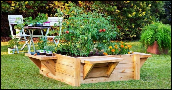 Pallet Raised Garden Bed with Benches