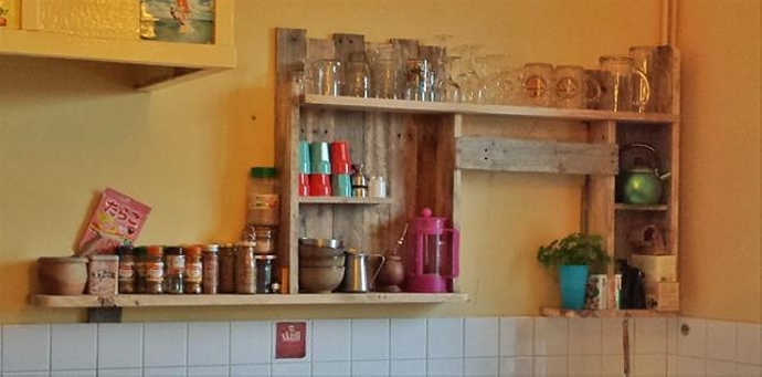 Kitchen Shelves Made from Wooden Pallet