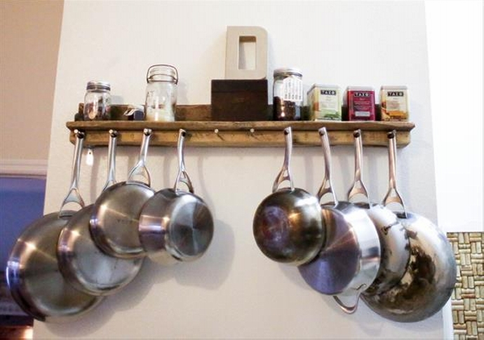 Pallet Kitchen Pot rack and Shelf