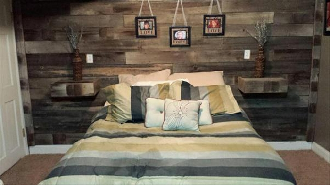 Pallet Bed Headboard with Shelves | Pallet Ideas
