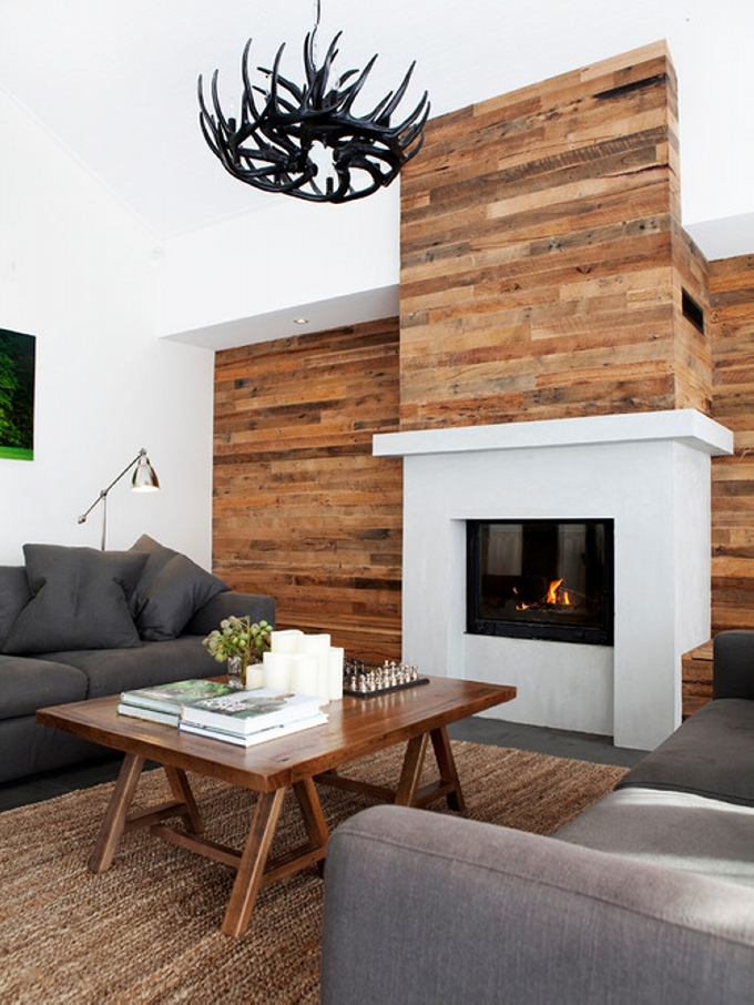 Living Room Feature Wall Design: Pallet Wall Cladding