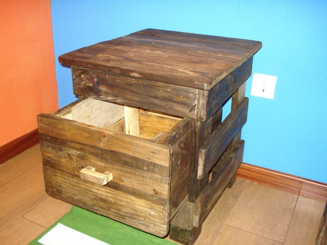 pallets bedside table