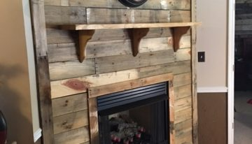 DIY Pallet Wall Fireplace