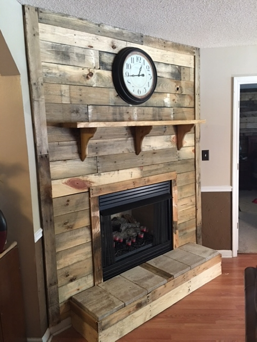 upcycled pallet fireplace