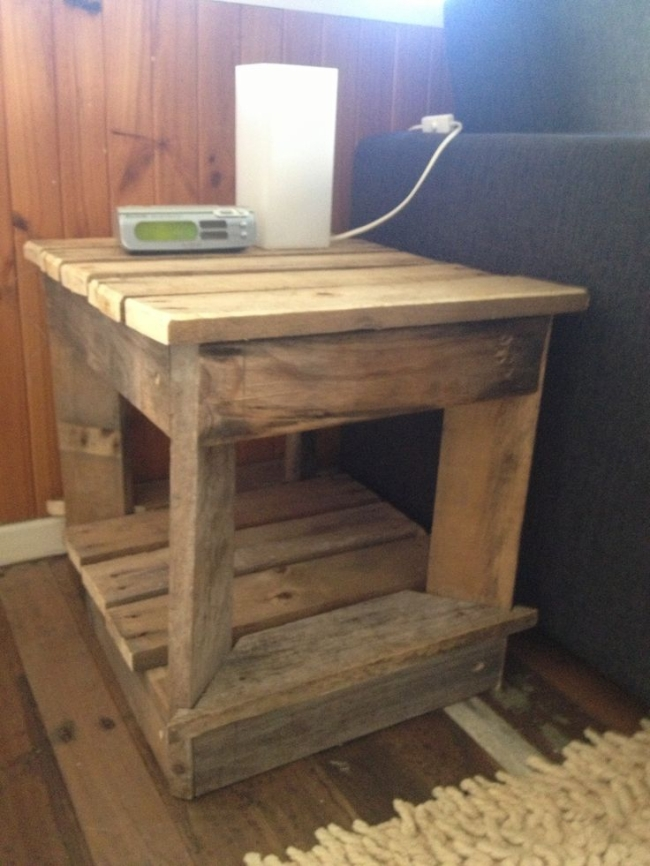 Recycled pallet bedside tables pallet ideas recycled for Pallet bed frame with side tables