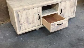 Pallet TV Cabinet on Wheels