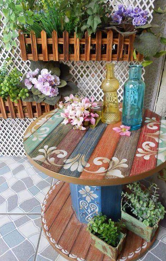 pallet cable spool decor table