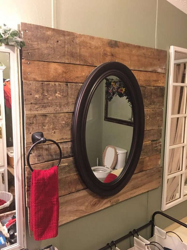 pallet mirror for bathroom