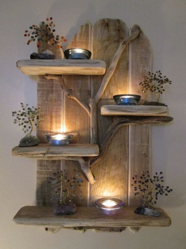 pallet wood decor shelf
