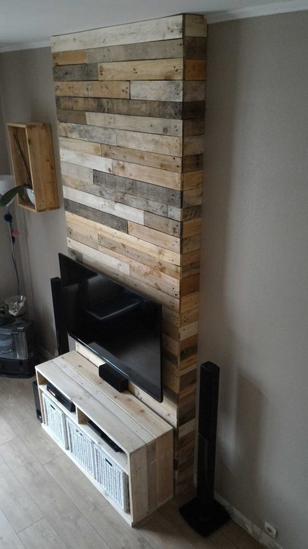 pallet wood wall art for tv stand