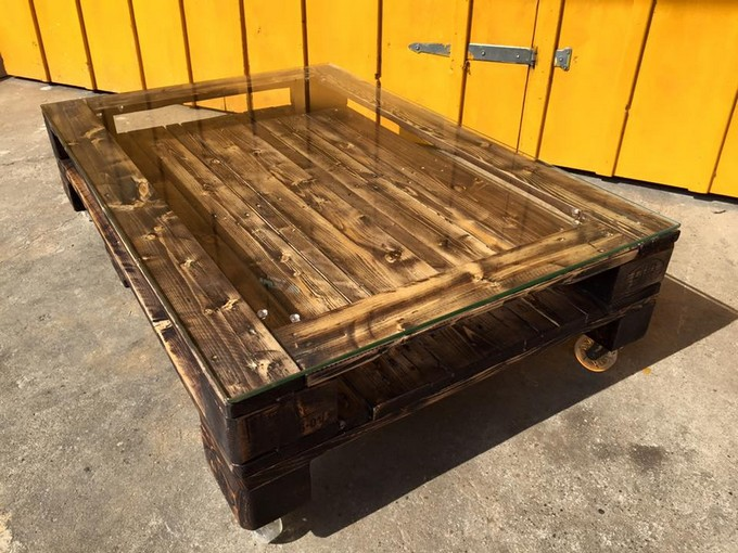 Wood Pallet Coffee Table ~ Glass top pallet coffee table ideas recycled