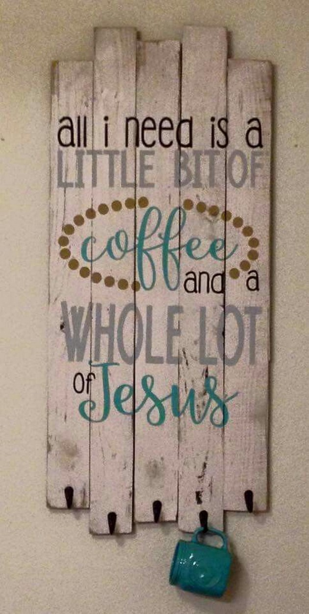pallet coffee cup holder with signs