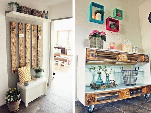 Pallet Shelves And Hanging Idea