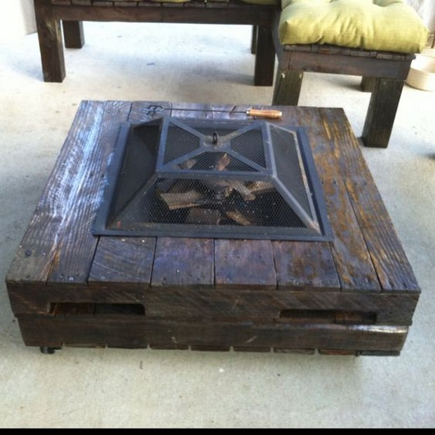 pallet table with firebit inside