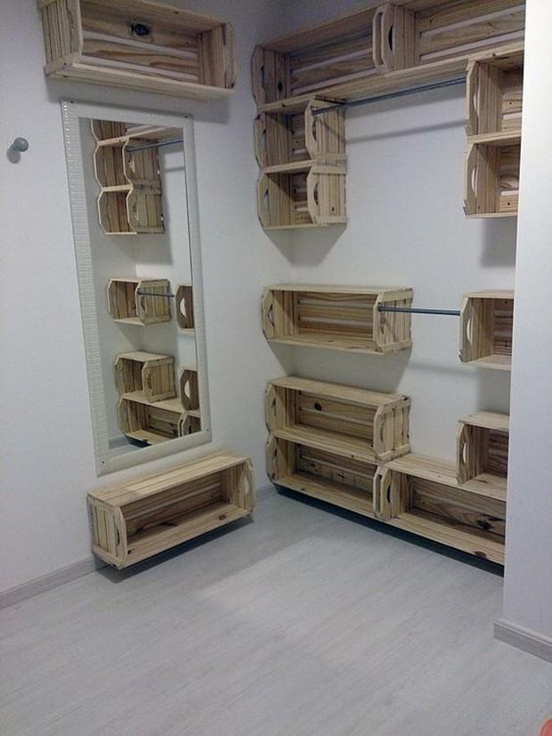 pallet wood crates shelving idea