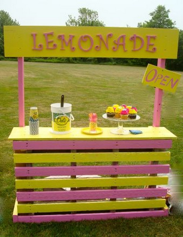 party stand with pallets