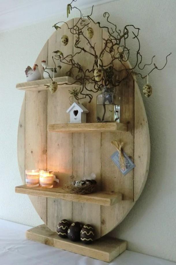 wood pallet heart shape shelf