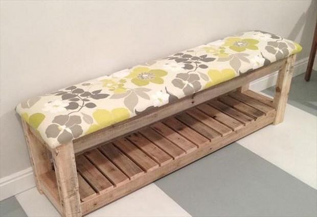 wooden pallet repurposed bench