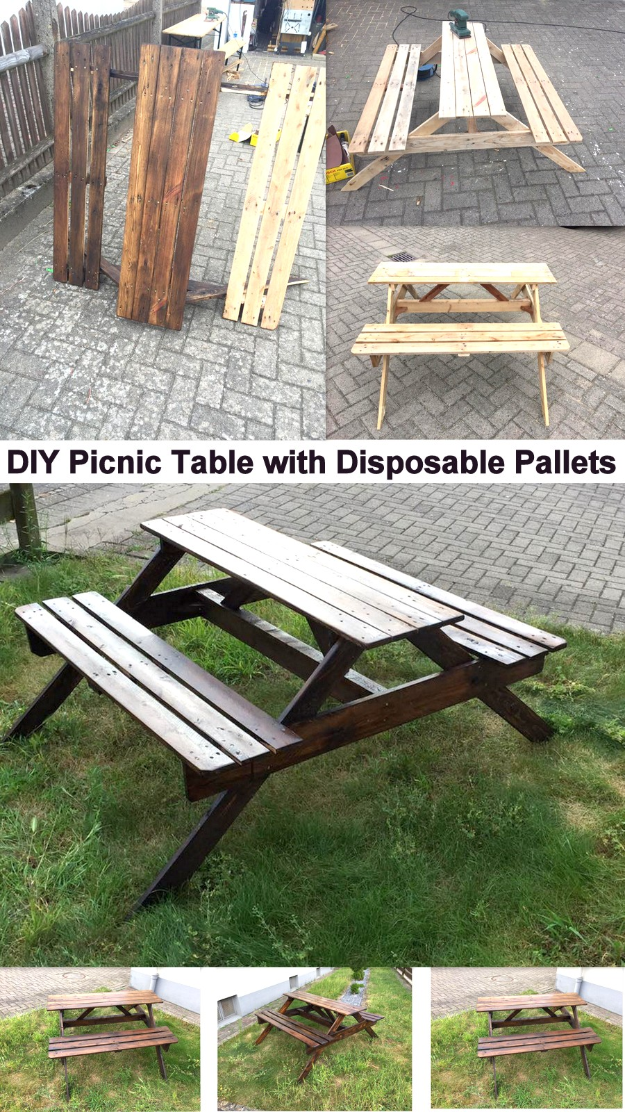 DIY Picnic Table with Disposable Pallets