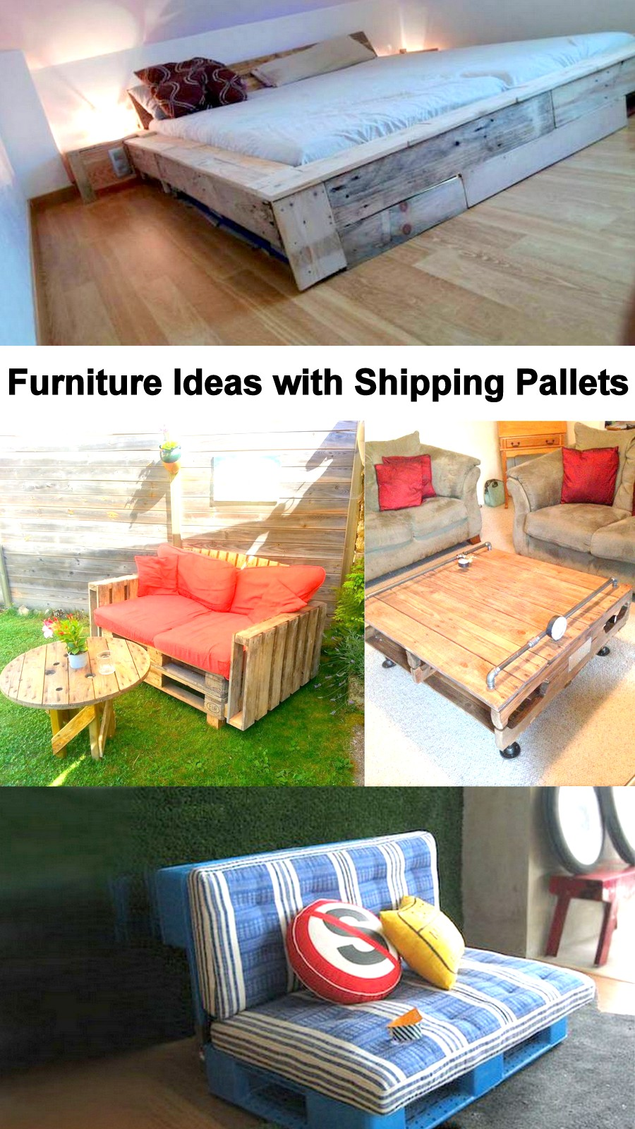 furniture ideas with shipping pallets pallet ideas. Black Bedroom Furniture Sets. Home Design Ideas