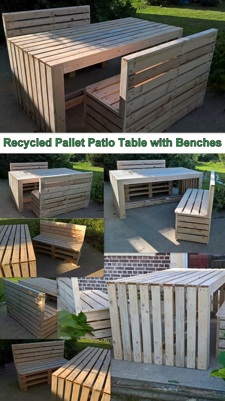 Recycled Pallet Patio Table with Benches