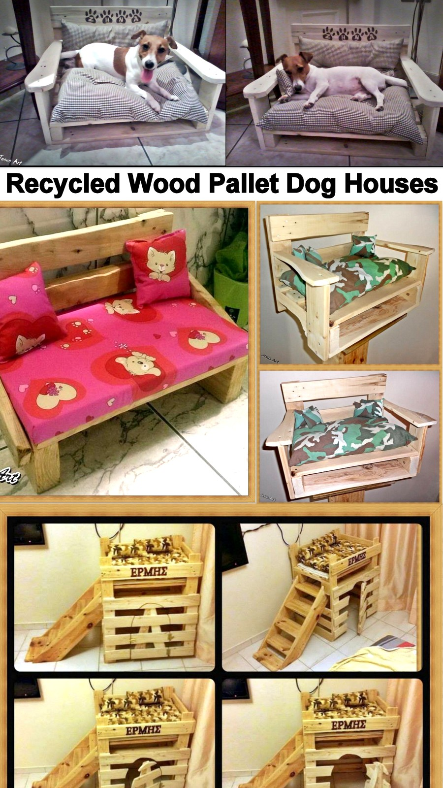 Recycled wood pallet dog bed houses my decor home for Reused wood