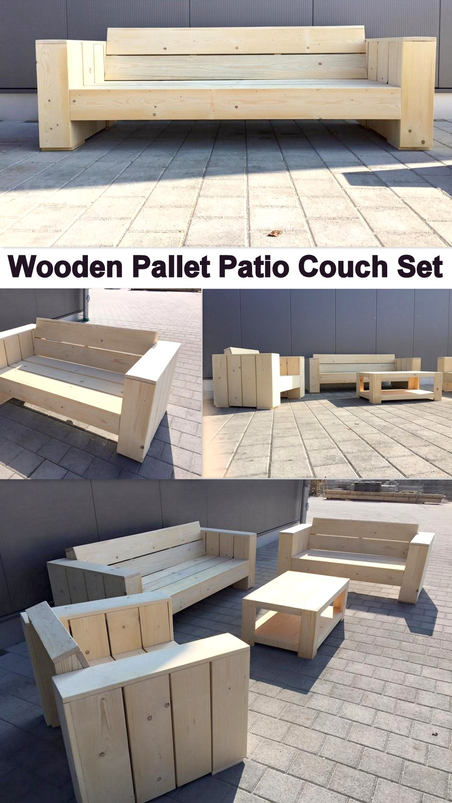 Wooden Pallet Patio Couch Set
