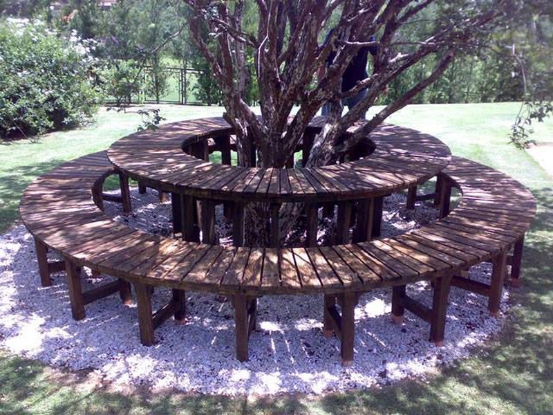 pallet wood patio seating around tree