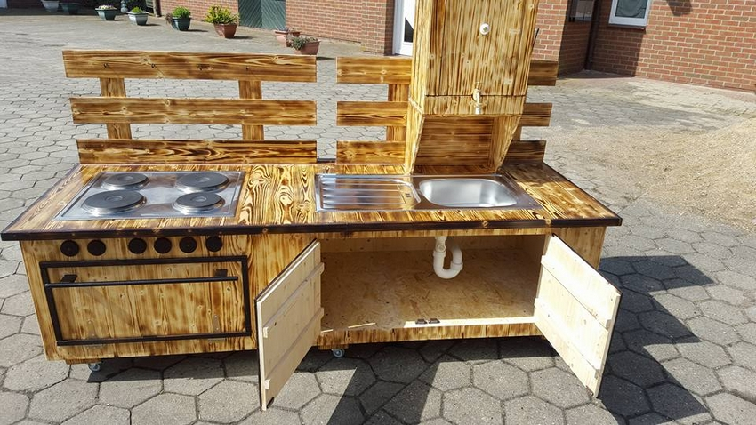 pallet wood sink with drawers