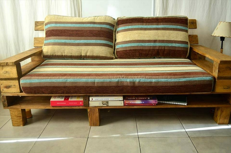 recycled pallet couch with books storage