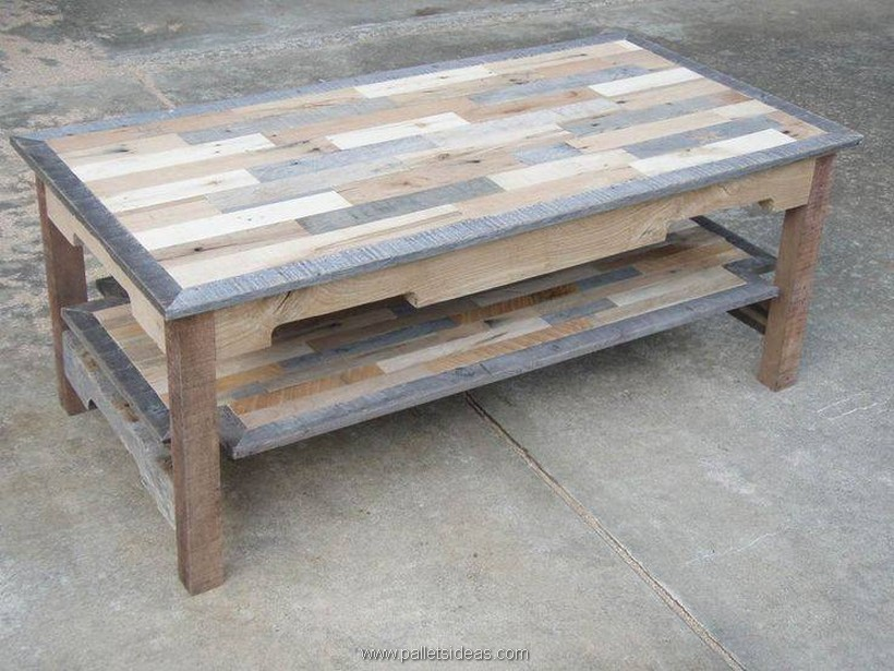 Furniture ideas with shipping pallets pallet ideas for How to make a wood pallet coffee table