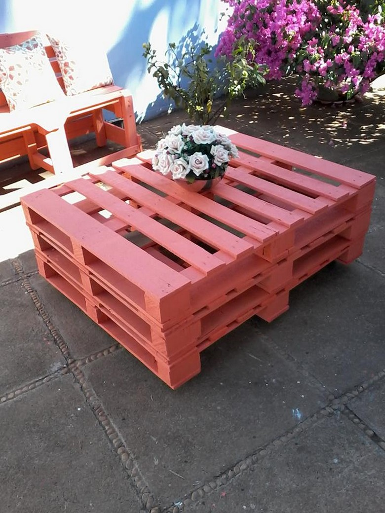 Pallet Patio Bench With Table Pallet Ideas