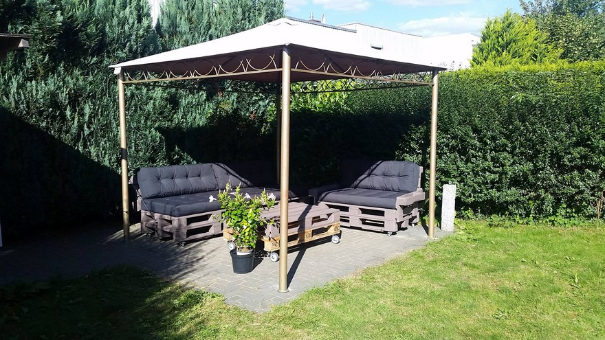 pallet furniture under garden gazebo