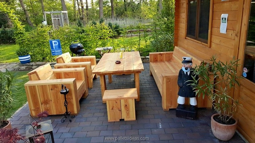 pallet wood patio lounge furniture