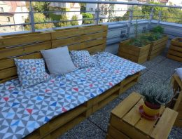 Rooftop Pallet Furniture with Planters
