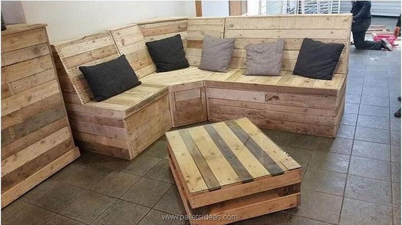 wooden pallet couch with table