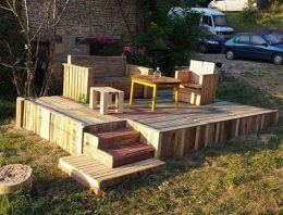 Wonderful Pallets Stage With Furniture
