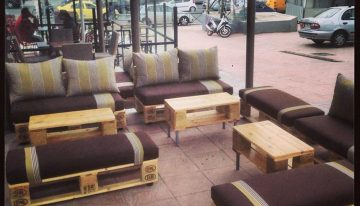 Eco Friendly Cafe Pallets Furniture in Athens