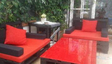 Bright Patio Pallets Couches with Coffee Table