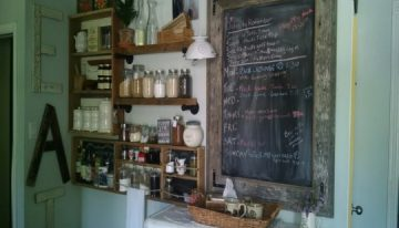 Pallets Kitchen Wall Shelves and Chalkboard