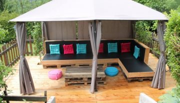 Pallets Made Furniture Under Garden Gazebo Deck