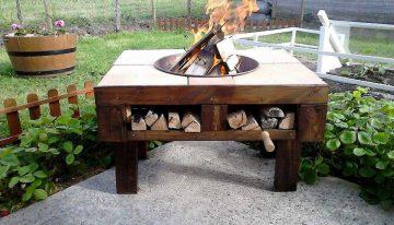 Pallet Wooden Patio Fire Bit
