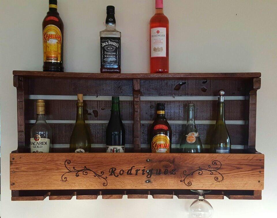 Pallet Rustic Wine Rack In Wood Burned Design Pallet Ideas