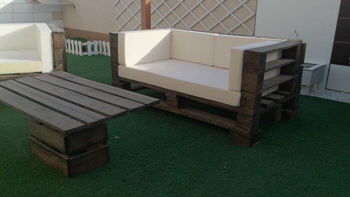 Pallet Wood Made Outdoor Sofa Set   Pallet Ideas