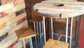 Iron Pipes and Pallets Upcycled Bar Benches with Table