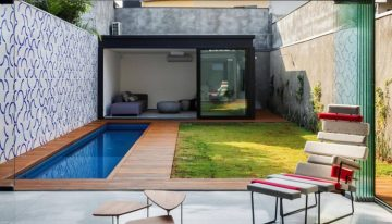 Pallet Pathway in Garden with Pool