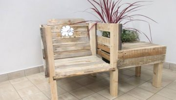Pallet Chairs with Attached Planter